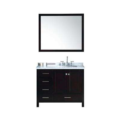 Cambridge 43 in. Bath Vanity in Espresso with Marble Vanity Top in Carrara White with White Basins and Mirror
