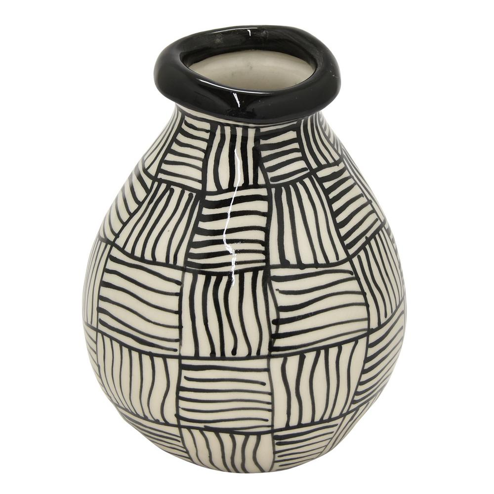 5.51 in. x 5.25 in. x 7 in. Black Ceramic Vase