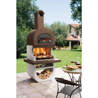 Marmotech 472.5 sq. in. Refractory Concrete Mixture Charcoal and Wood Fire Pedestal Grill in White/Brown