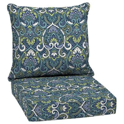 24 x 24 Sapphire Aurora Damask 2-Piece Deep Seating Outdoor Lounge Chair Cushion