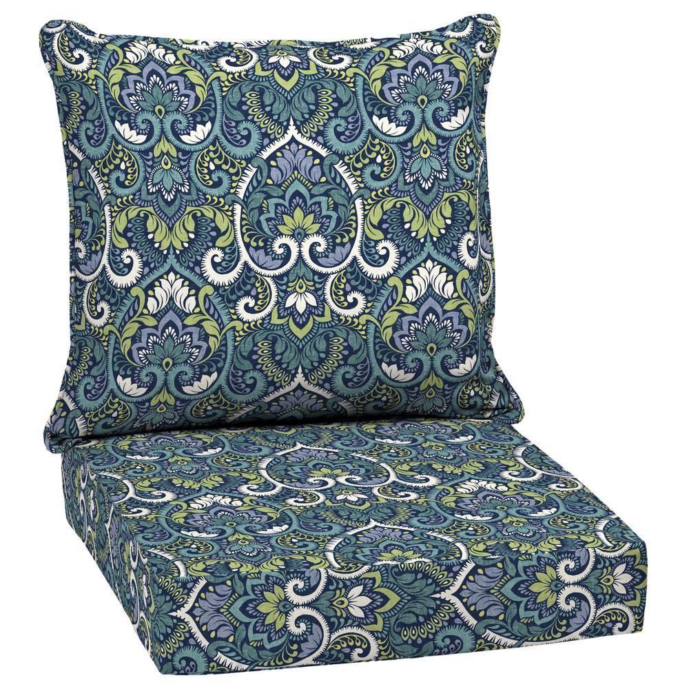 24 x 24 Sapphire Aurora Damask 2-Piece Deep Seating Outdoor Lounge Chair Cushion