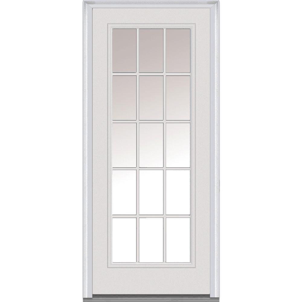 32 in. x 80 in. Clear Glass Left-Hand 15 Lite External Grilles Classic Primed Steel Prehung Front Door