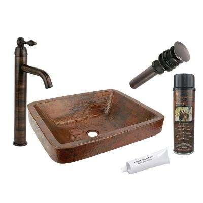 All-in-One Rectangle Skirted Vessel Hammered Copper Bathroom Sink in Oil Rubbed Bronze