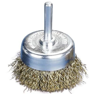 2 in. x 1/4 in. Shank Crimped Brass Coated Steel Wire Cup Brush