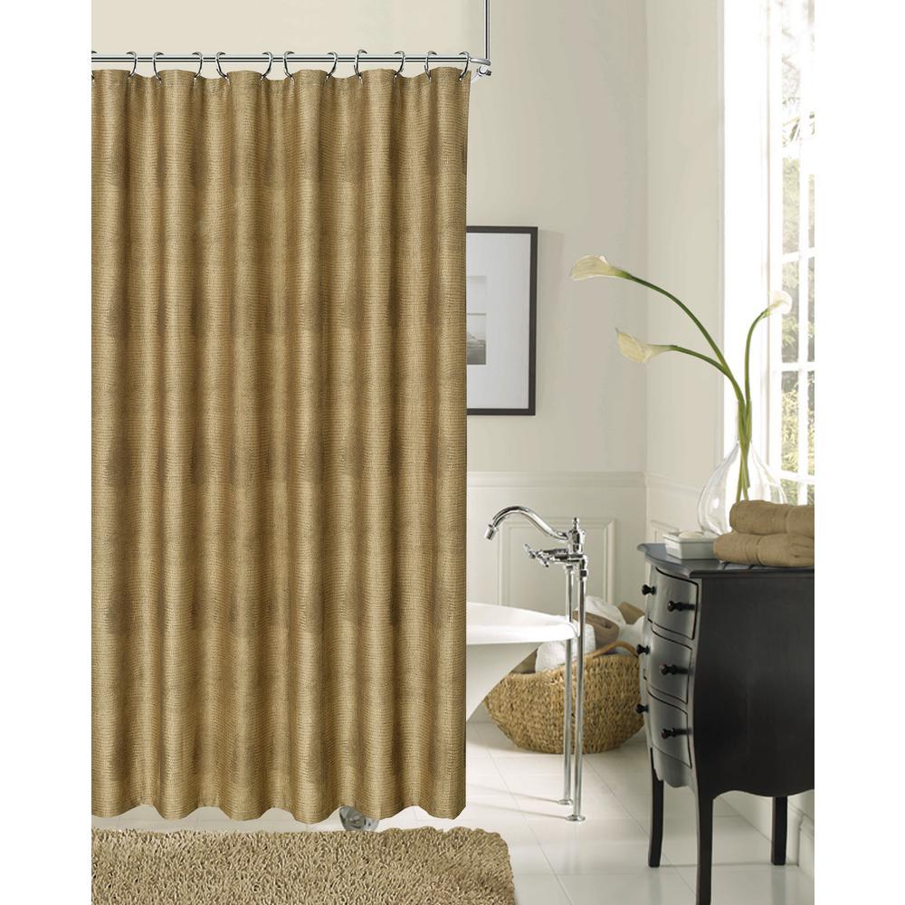 Crocodile 72 in. Bronze Fabric Shower Curtain