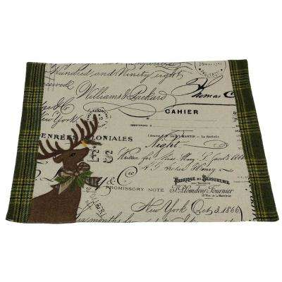 12 in. x 18 in. Reindeer With Applique Suede Collection Placemat
