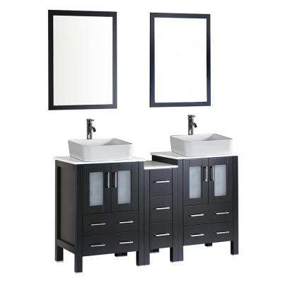 60 in. W Double Bath Vanity in Espresso with  Stone Vanity Top with White Basin and Mirror