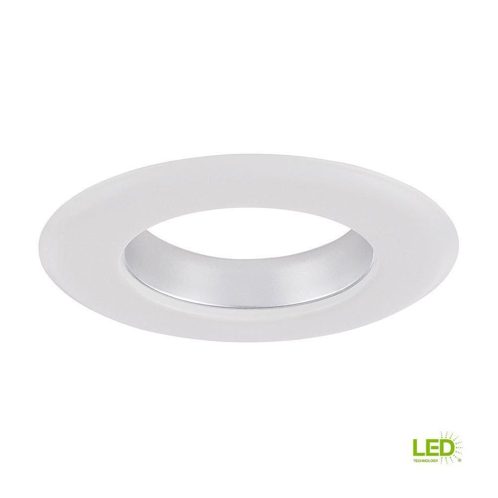 Envirolite 4 In Decorative Diffused Chrome Cone On White Trim Ring For Led Recessed Light With