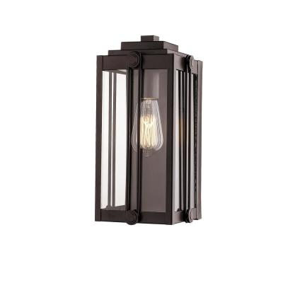 13 in. 1-Light Powder Coat Bronze Outdoor Wall-Light Sconce with Clear Glass