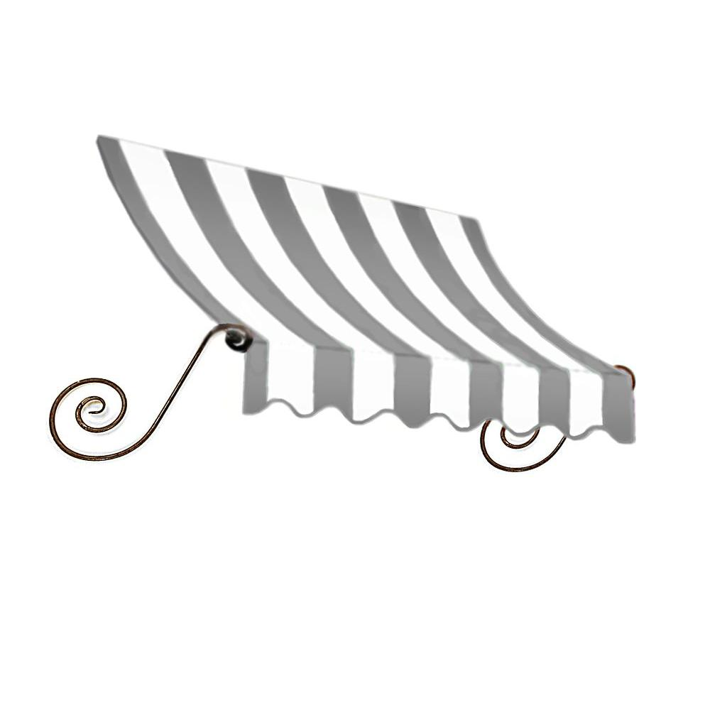 AWNTECH 5 ft. Charleston Window Awning (31 in. H x 24 in. D) in Gray/White Stripe