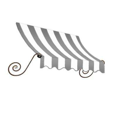 5 ft. Charleston Window/Entry Awning (18 in. H x 36 in. D) in Gray/White Stripe