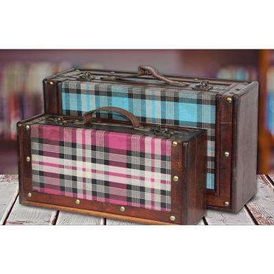 13 5/8 in. W x 7.5 in. D x 4 3/8 in. H Wood and Faux Leather Tartan Blue and Pink Plaid Suitcase Set of 2 sizes