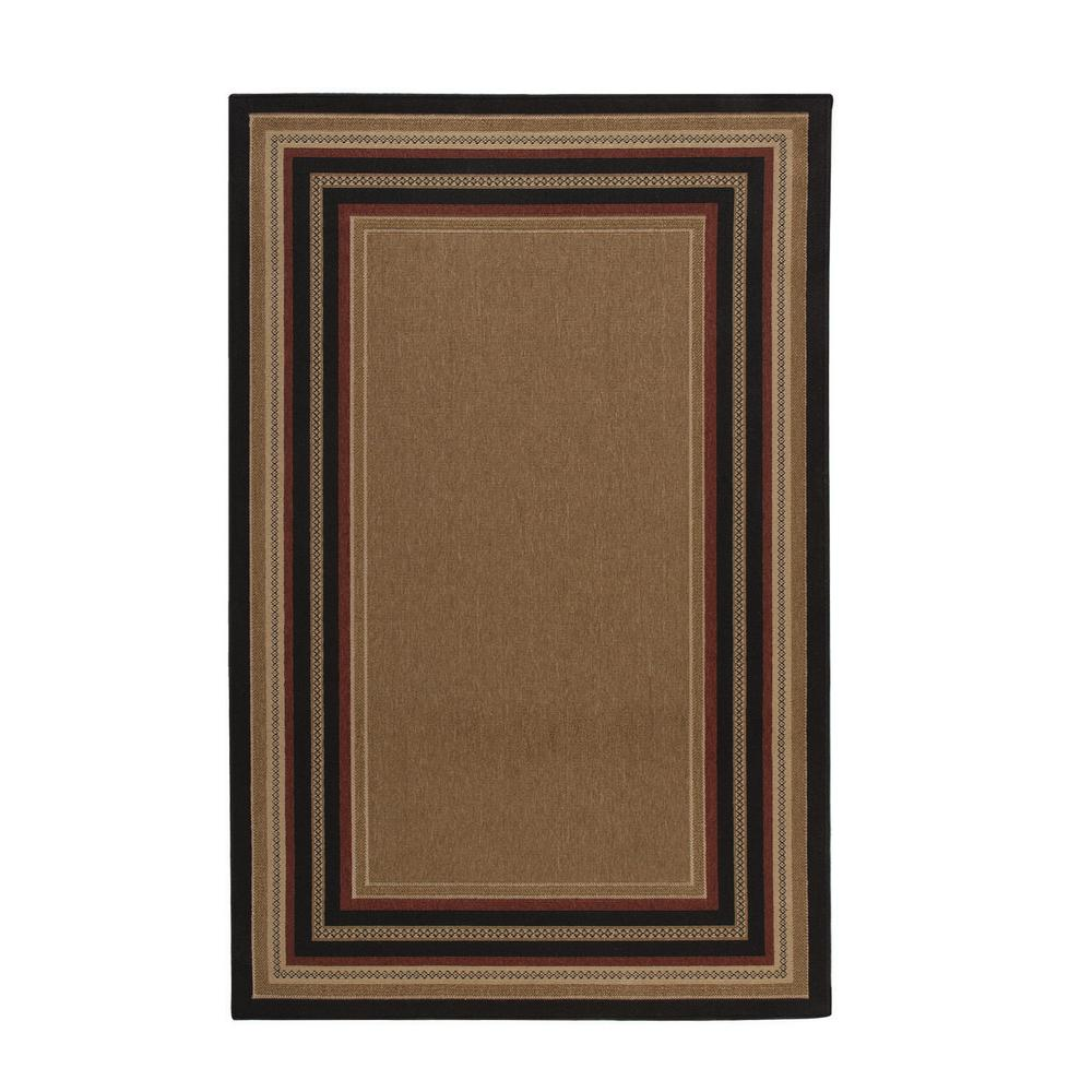 Indoor Outdoor Rugs Home Depot: Hampton Bay Border Chili/Red/Brown 5 Ft. 3 In. X 7 Ft. 4