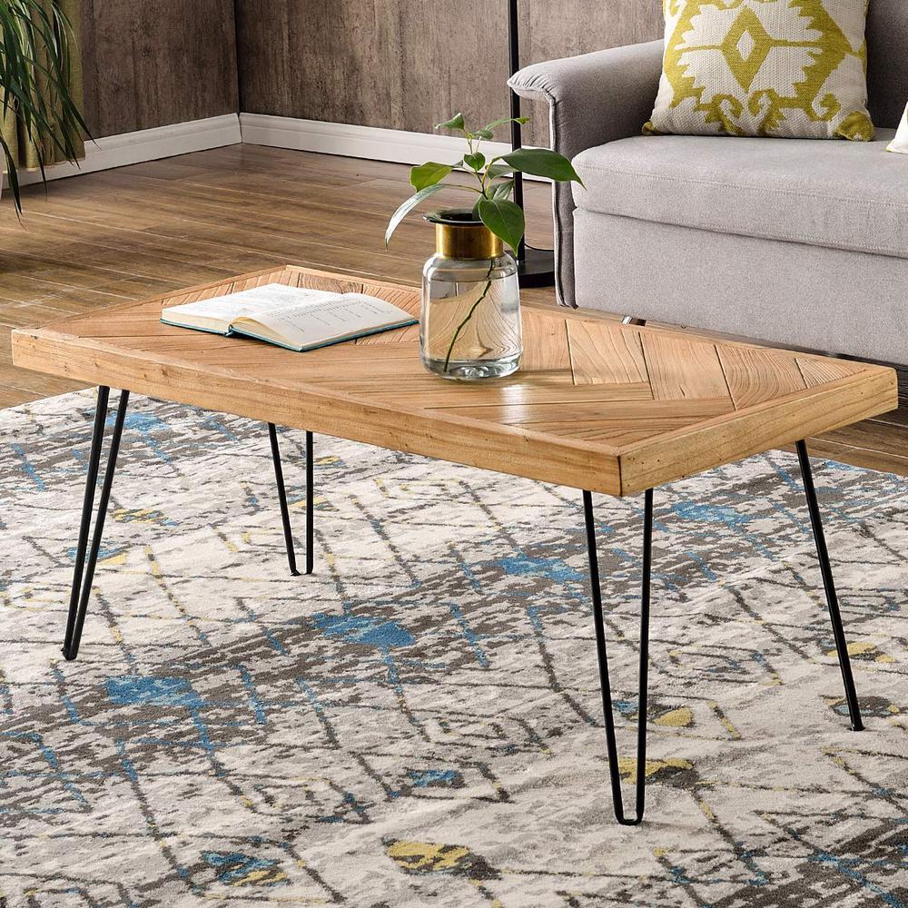 Rough Unfinshed Oak Nature Rustic Rectangular Coffee Table