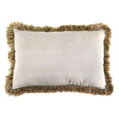 Sunbrella 19 in. x 12 in. Frequency Parchment Lumbar Outdoor Throw Pillow with Heather Beige Fringe