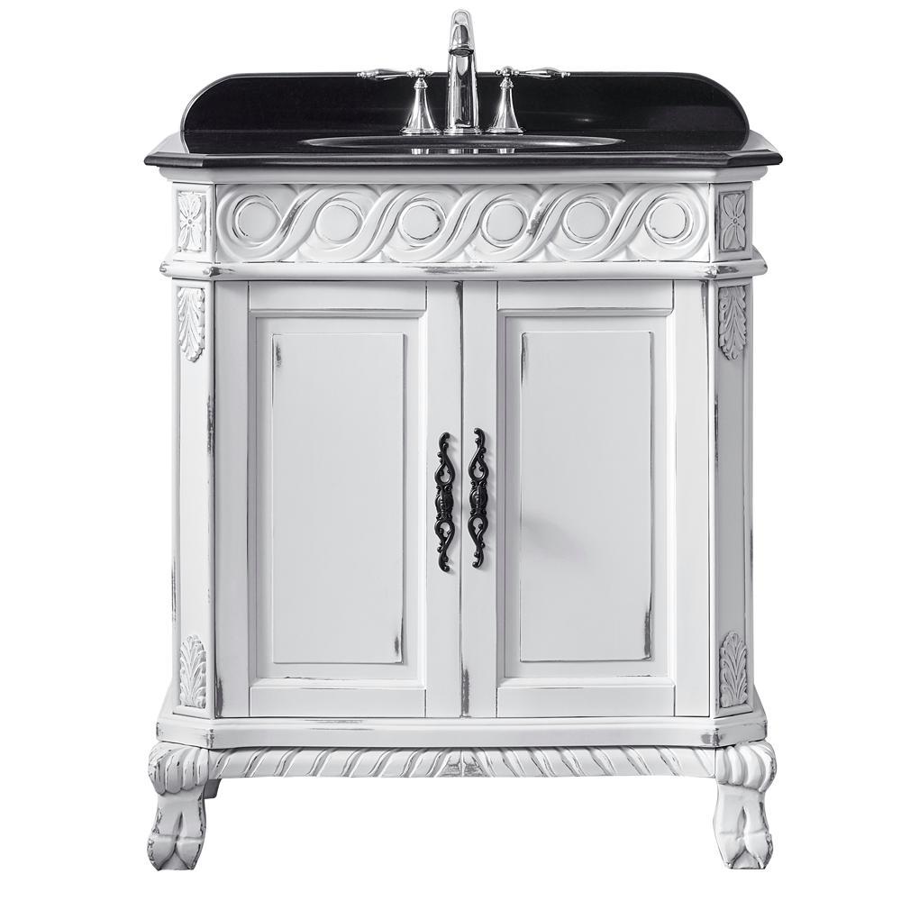 Trent 30 in. W x 22 in. D Single Sink Vanity in Antique White Gold Brush with Vanity Top in Black Granite w/ White Basin