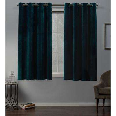 Velvet 54 in. W x 63 in. L Velvet Grommet Top Curtain Panel in Teal (2 Panels)