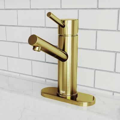 Noma Single Hole Single-Handle Bathroom Faucet with Deck Plate in Matte Gold