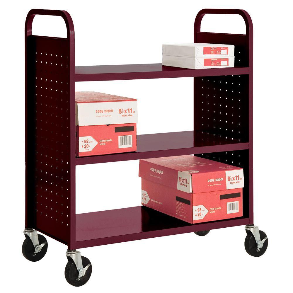 Burgundy Mobile Steel Bookcase