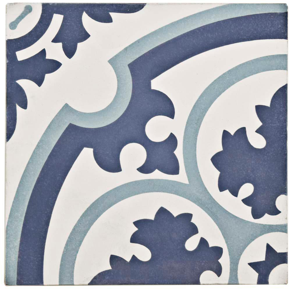 Merola Tile Cemento Queen Mary Sky 7-7/8 in. x 7-7/8 in. Cement Handmade Floor and Wall Tile