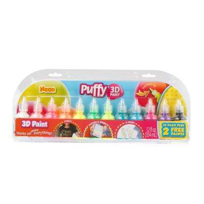 Puffy 3D Paint Neon Bright 1 oz. Bottles (12-Pack)