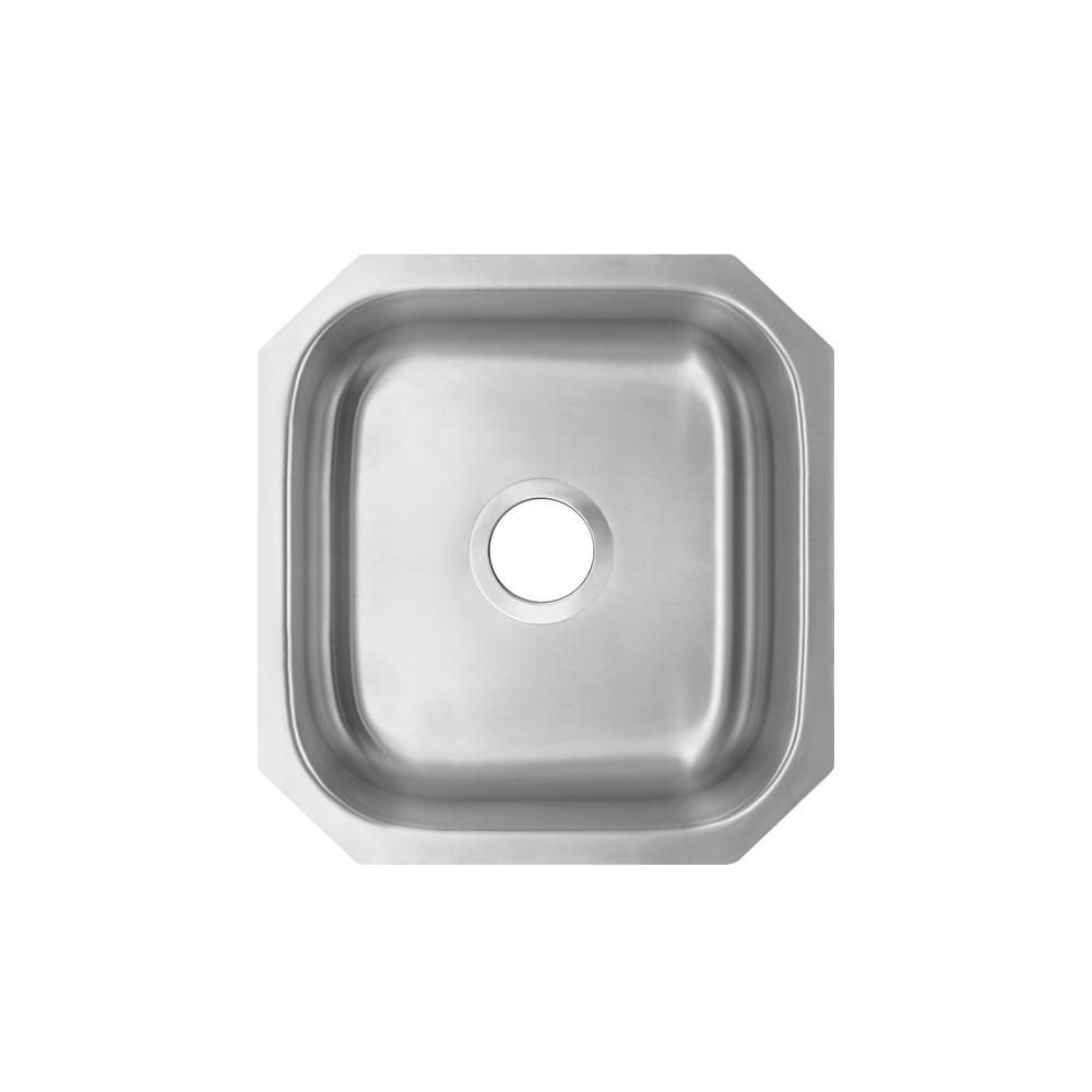 IPT Sink Company 18 Gauge Undermount Stainless Steel 16.125 in. 0-Hole Bar Single Bowl Kitchen Sink in Brushed Stainless, Brushed Stainless Steel was $111.25 now $79.0 (29.0% off)