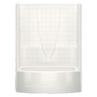 Everyday Smooth Tile 60 in. x 36.3 in. x 77.3 in. 1-Piece Curved Bath and Shower Kit with Left Drain in Biscuit
