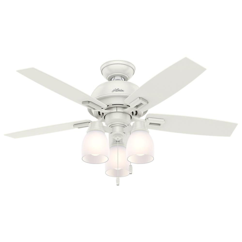 Lovely Hunter White Fan Part - 8: Hunter Donegan 44 In. LED 3-Light Indoor Fresh White Ceiling Fan