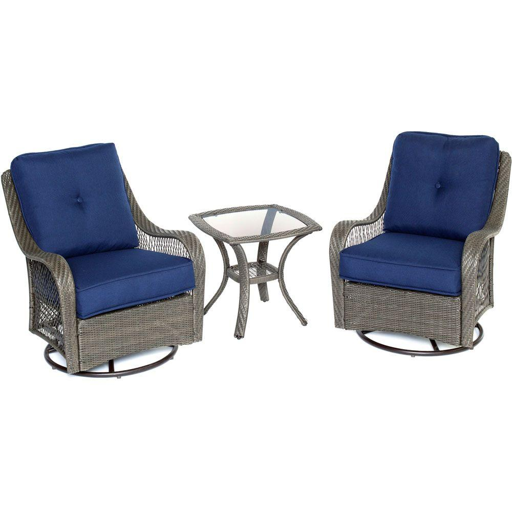 Hanover Orleans Grey 3 Piece All Weather Wicker Patio Swivel Rocking Chat  Set With
