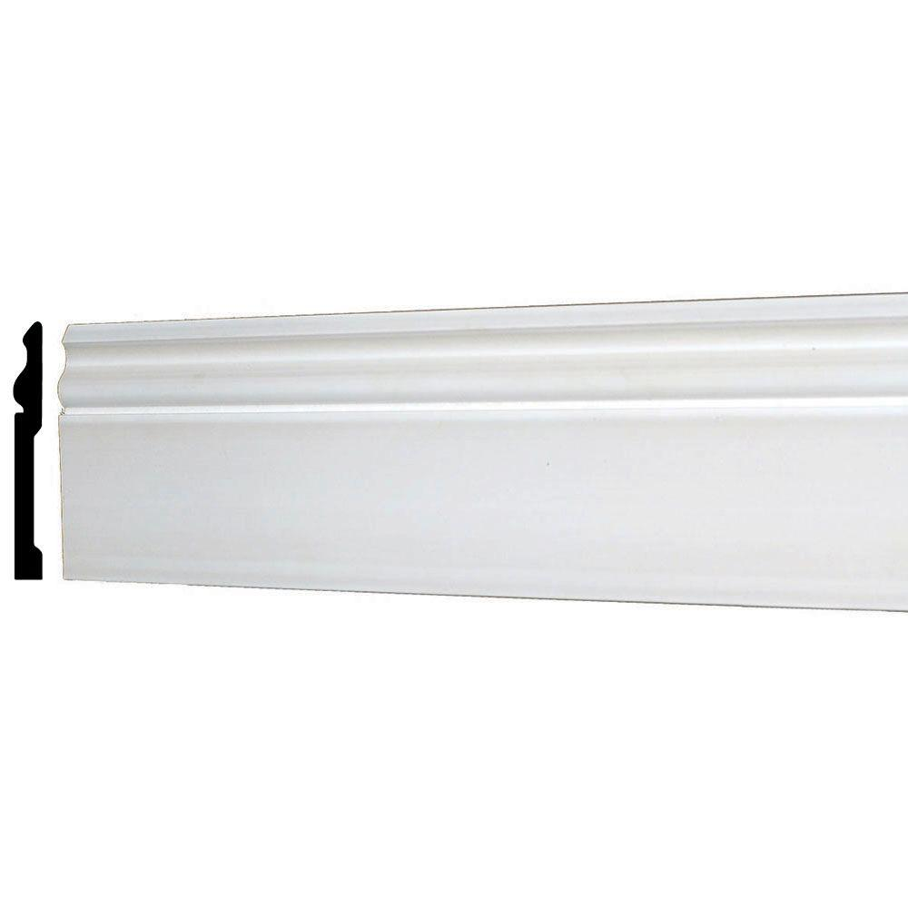 American Pro Decor WM 163E 5-5/8 in. x 1/2 in. x 96 in. Plain Recycled Polystyrene Base Moulding