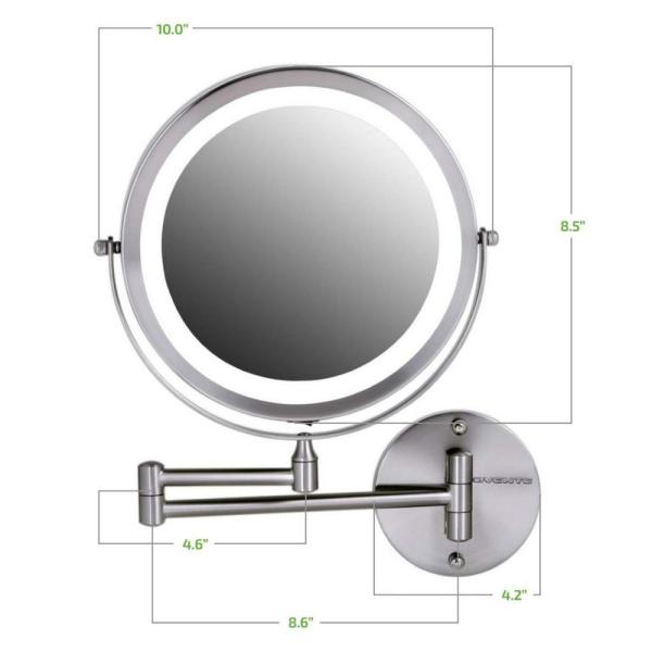 Ovente 13 2 In H X 1 6 In W Small Round Nickel Brushed Lighted Framed Modern Vanity Mirror 1x 10x Magnification Mfw85br1x10x The Home Depot