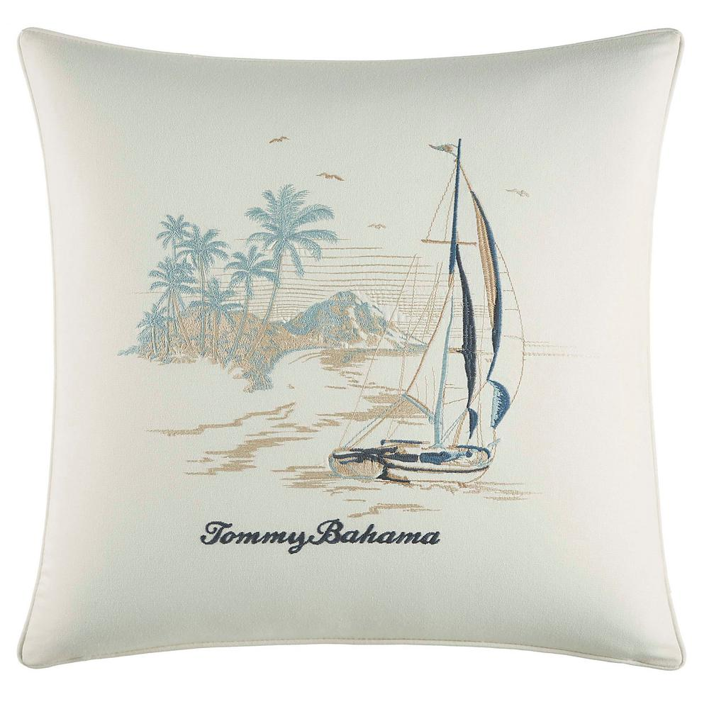 La Prisma Stripe Stripe Sails 20 in. x 20 in. Throw Pillow, Blue The Tommy Bahama La Prisma Stripe Throw Pillow adds instant relaxation and style to your sleep space. Supremely soft in pure cotton, the beautiful ocean scene with a scripted  Tommy Bahama  text creates a cool and refreshing new look. Dimensions: (20 in. x 20 in.). Color: Blue.