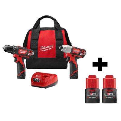 M12 12-Volt Lithium-Ion Cordless Drill Driver/Impact Driver Combo Kit (2-Tool) With Two Free M12 1.5Ah Batteries