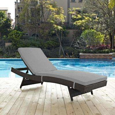 Sojourn Wicker Outdoor Patio Chaise Lounge with Sunbrella Canvas Gray Cushions