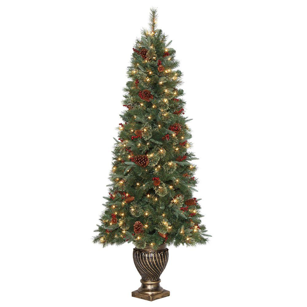 6.5 ft. Hayden Pine Potted Artificial Christmas Tree with 200 ...