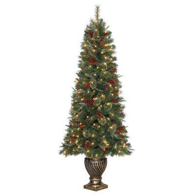 6.5 ft. Hayden Pine Potted Artificial Christmas Tree with 200 Clear Lights