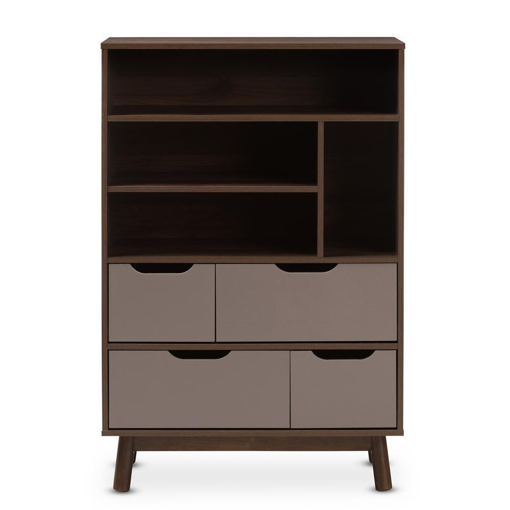 Britta Brown And Grey Bookcase