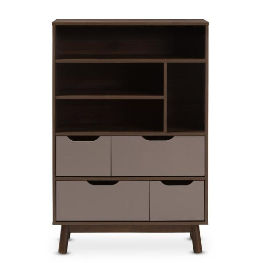 Baxton Studio Britta Brown and Grey Bookcase