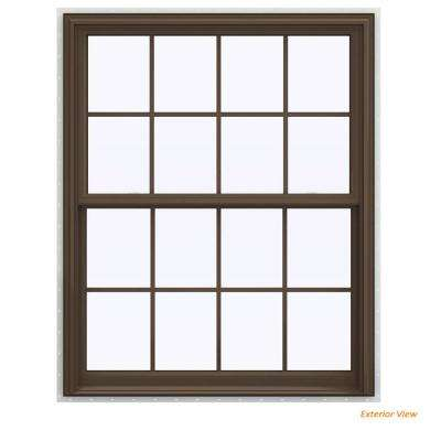 43 5 In X 59 V 2500 Series Brown Painted Vinyl Double Hung