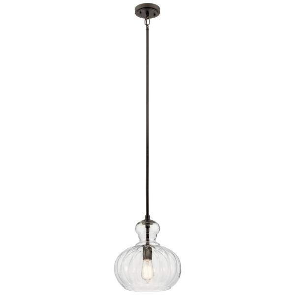 Riviera 13 in. 1-Light Olde Bronze Pendant Light with Clear Ribbed Glass