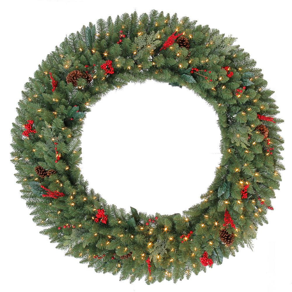 Home Accents Holiday 60 in. Battery-Operated Pre-Lit LED Artificial Winslow Fir Christmas Wreath with 560 Tips and 240 Warm White Lights