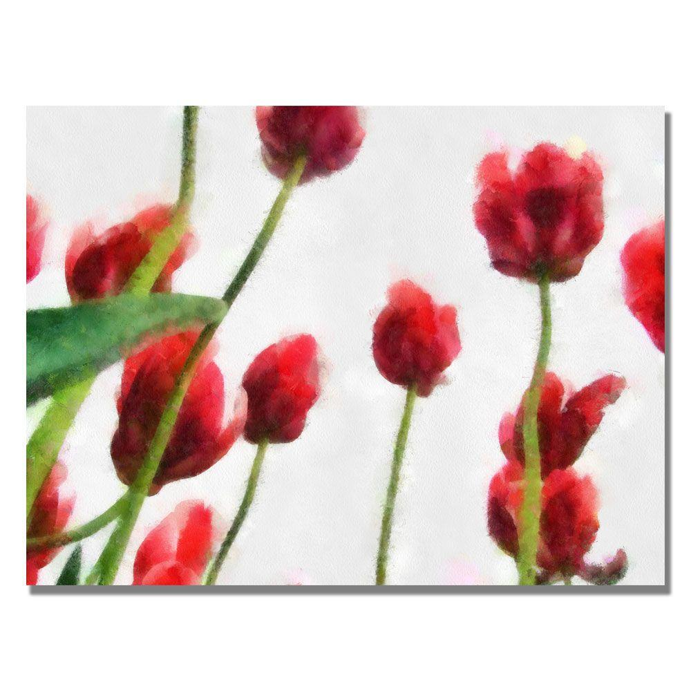 Trademark Fine Art 24 in. x 32 in. Red Tulips from the Bottom Up II Canvas Art