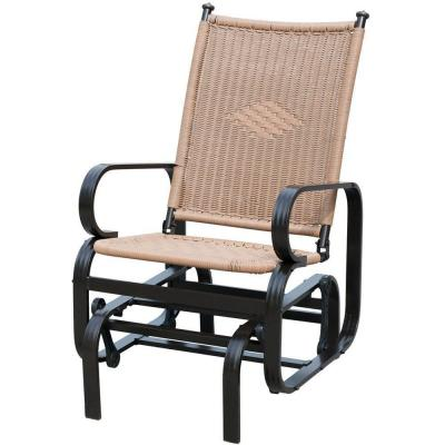 19.7 in. W Support 350 lbs. 1-Person Tan Wicker Outdoor Glider