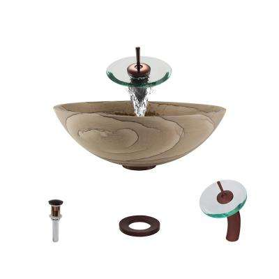 Stone Vessel Sink in Wood Sandstone with Waterfall Faucet and Pop-Up Drain in Oil Rubbed Bronze