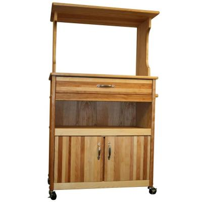 Natural Wood Kitchen Cart with Hutch Top