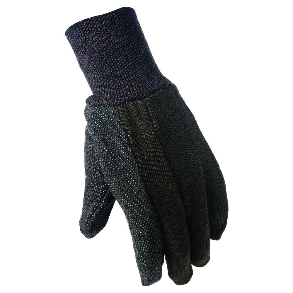 True Grip Large Brown Cotton Jersey with Mini Dots Gloves