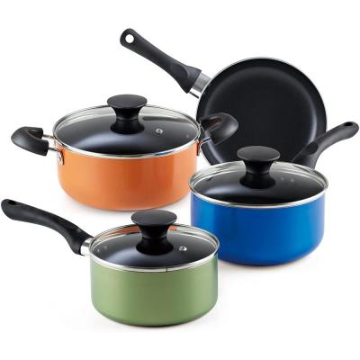 Stay Cool Handle 7-Piece Aluminum Nonstick Cookware Set in Assorted Colors