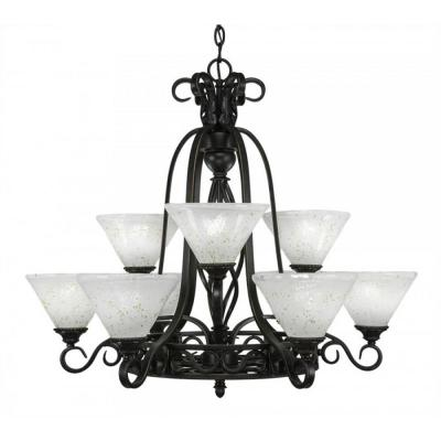 9-Light Dark Granite Chandelier with Gold Ice Glass Shade