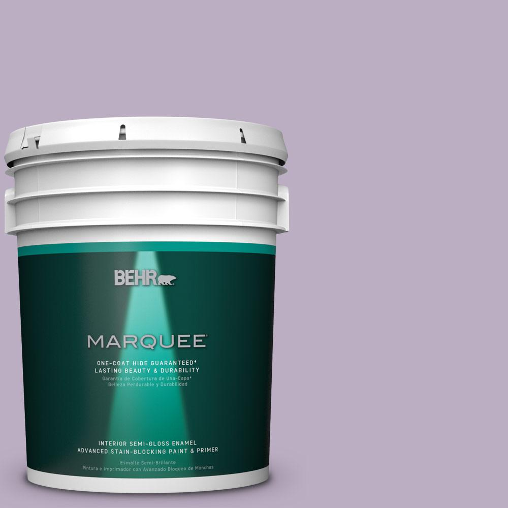 5 gal. #S100-3 Courtly Purple One-Coat Hide Semi-Gloss Enamel Interior Paint