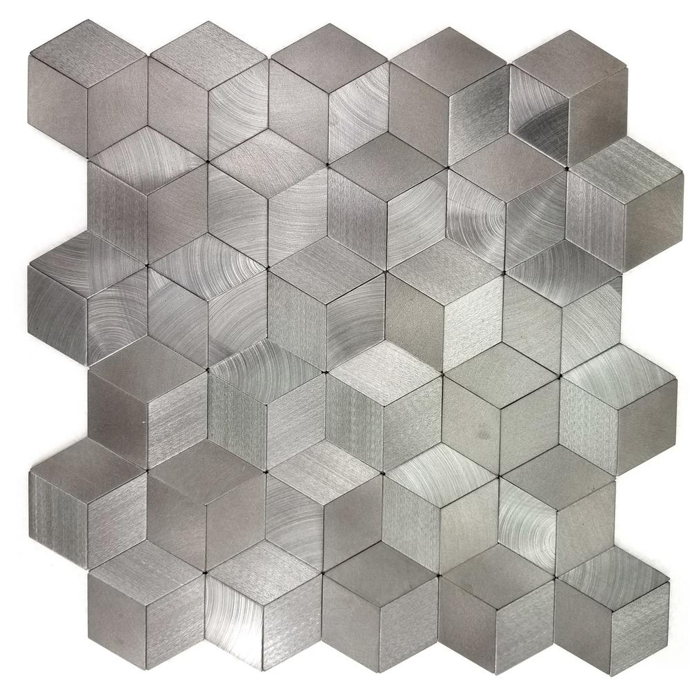 Abolos enchanted metals 12 in x 12 in silver aluminum 3d for 3d peel and stick wallpaper